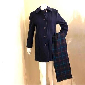Pendleton Virgin Wool Pea Coat with Plaid Scarf